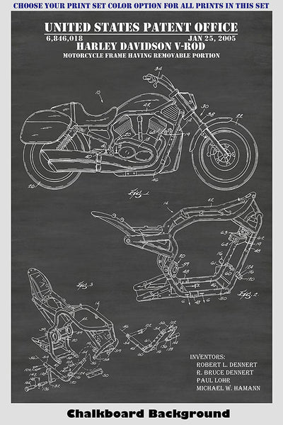 Classic & Modern Harley Davidson Motorcycles Patent Print Art Posters Wall Decor Collection