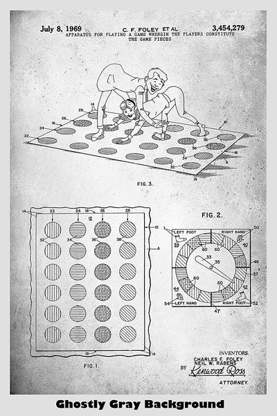 Twister Game Patent Print Art Poster
