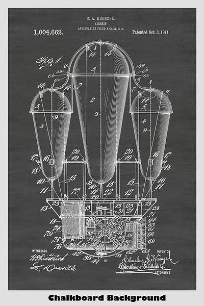 Steampunk Hot Air Balloon Airship Patent Print Art Poster