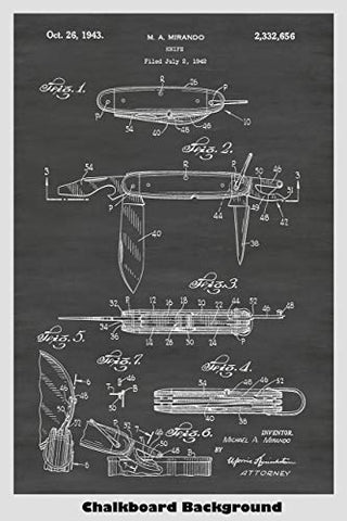 Pocket Knife Patent Print Art Poster