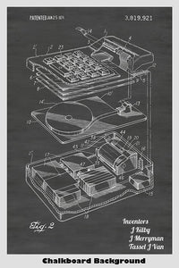 "Early ""Miniature"" Electronic Calculator Patent Print Art Poster"