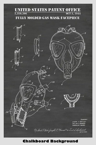 Fully Molded Gas Mask Patent Print Art Poster