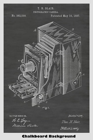 Beautiful patent line art example of a very early folding box camera.