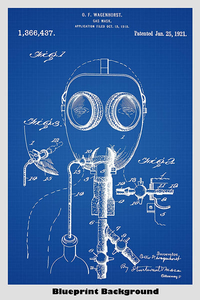 Steampunk Style Gas Mask Patent Print Art Poster