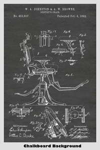 Dentist's Chair Poster Patent Print Art Poster