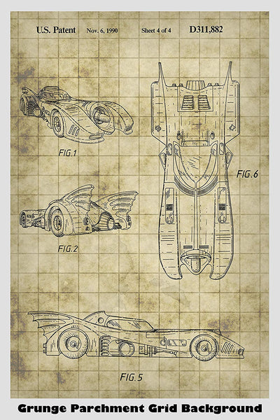 Batman Batmobile Patent Print Art Poster