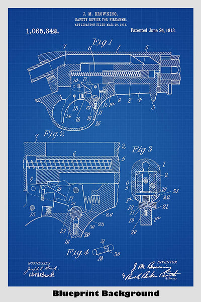 Browning Pistol Safety Device Patent Print Art Poster