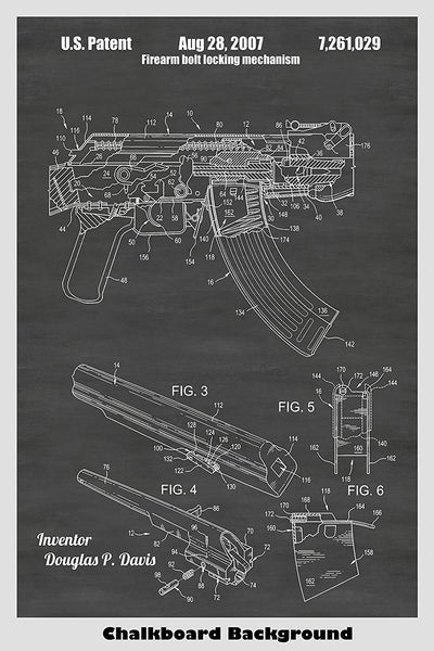 AK-47 Assault Rifle Patent Print Art Poster