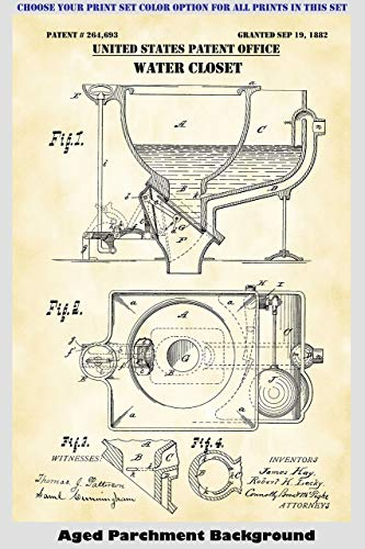 Bathroom Toilet Designs Patent Print Art Posters Wall Decor Collection
