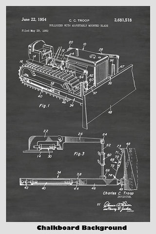 Bulldozer With Adjustably Mounted Blade Patent Art