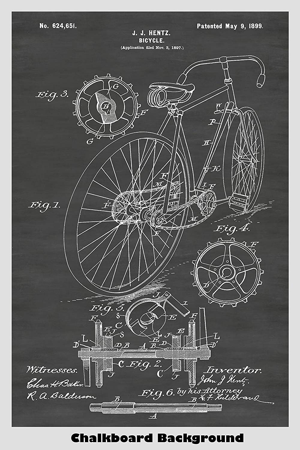 Antique Bicycle Art Patent on a Chalkboard Background