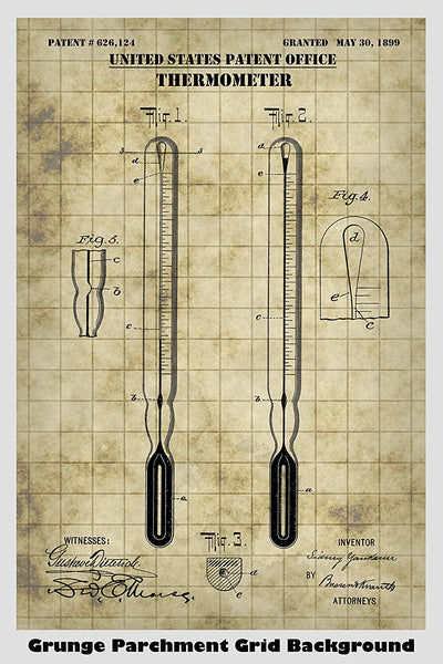 Thermometer Patent Print Art Poster