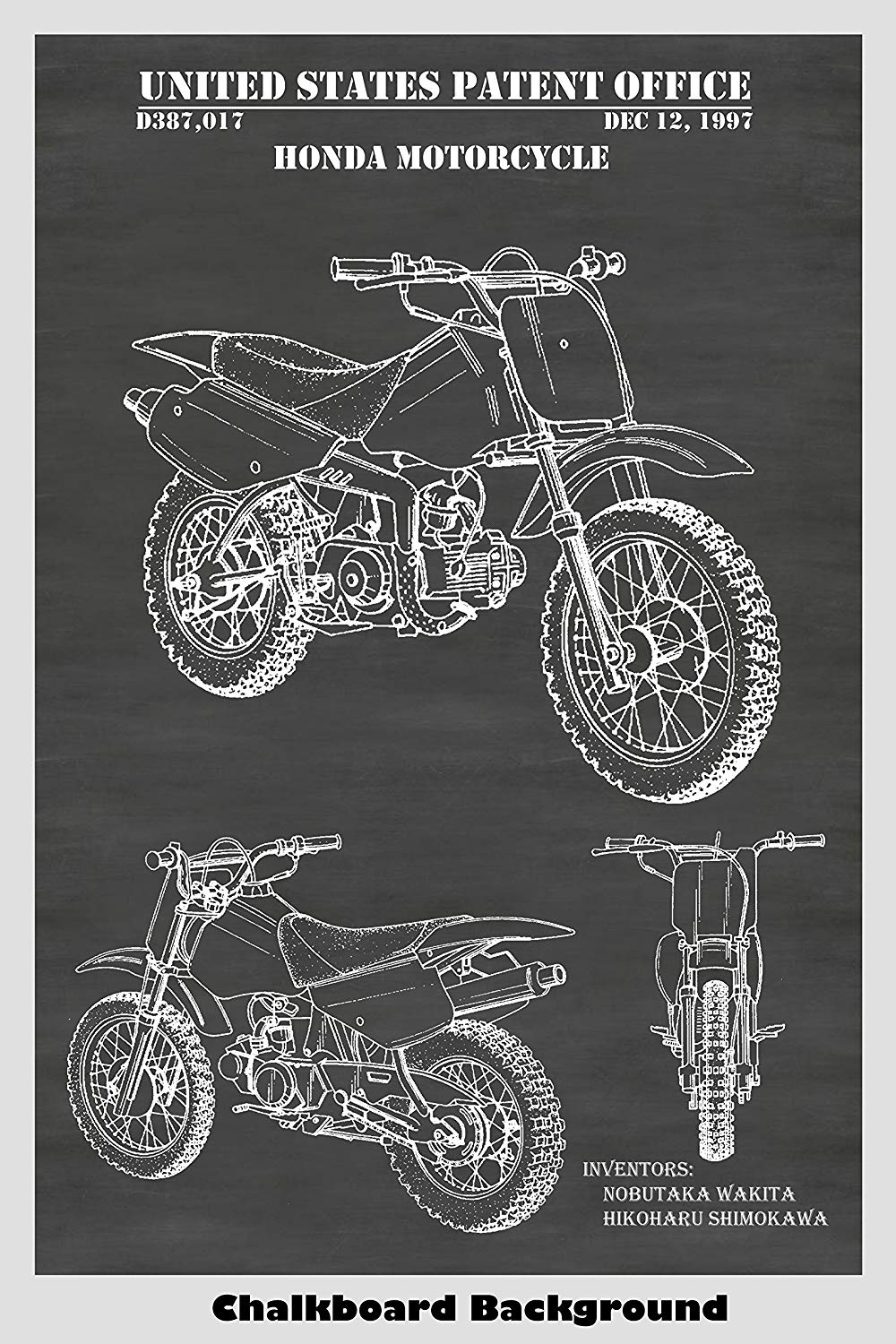 Honda Motorcycle Dirt Bike Patent Print Art Poster