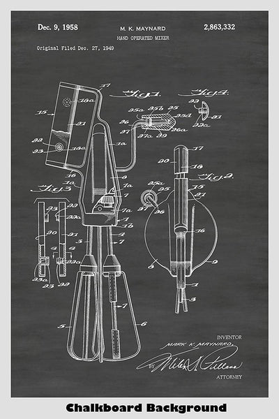 Kitchen Hand Mixer Patent Print Art Poster