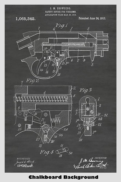 Browning Pistol Safety Device Poster Patent Print Art