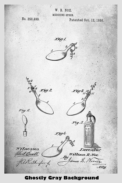 Medicine Spoon with Attached Corkscrew Patent Print Art Poster