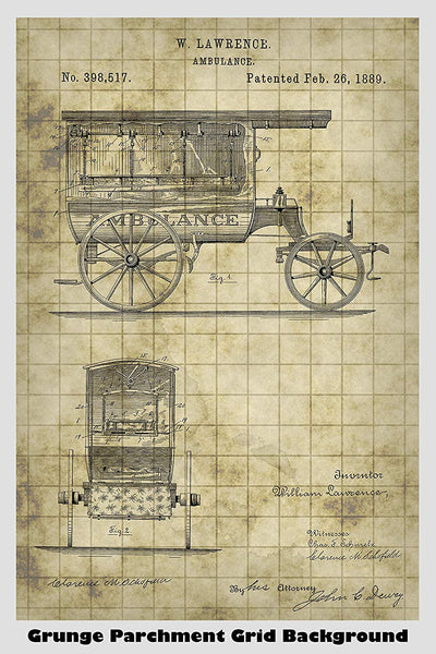 Antique Ambulance Patent Print Art Poster
