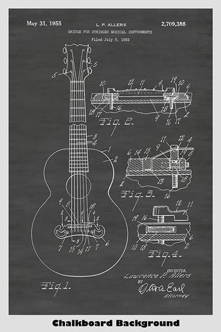 Gibson Guitar Bridge Patent Print Art Poster