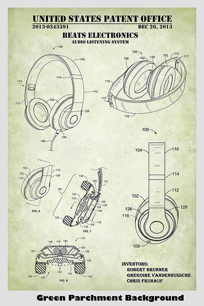 Beats Electronics Headphones Patent Print Art Poster