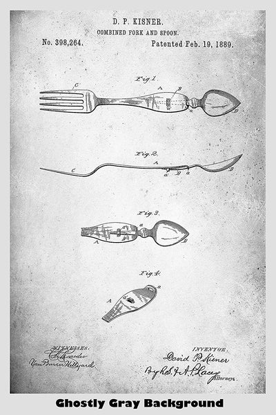 Combination Spoon And Fork Patent Print Art Poster