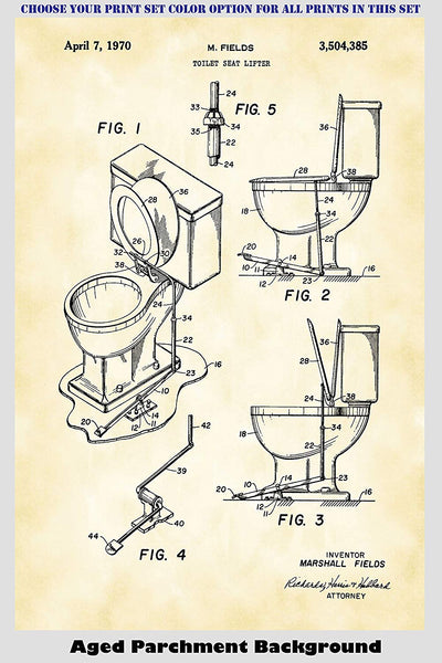 Vintage Toilet and Toilet Paper Bathroom Patent Print Art Posters Wall Decor Collection