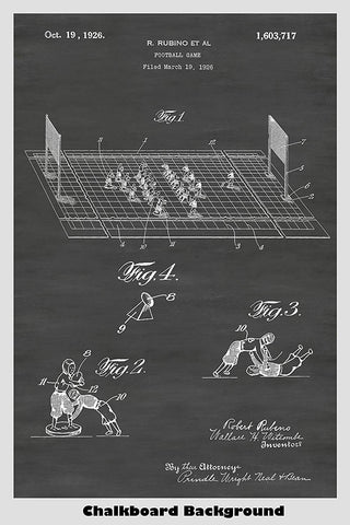 Toy Football Game Patent Print Art Poster
