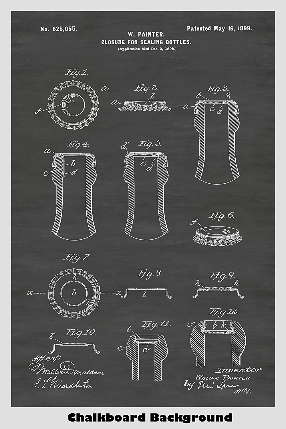 Patent poster art of a beer bottle cap sealing device