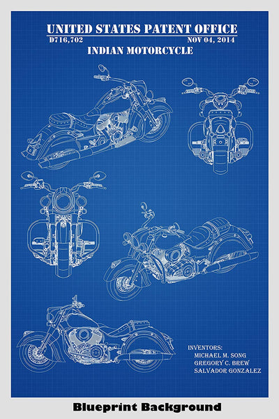 Modern Indian Motorcycle Patent Print Art Poster