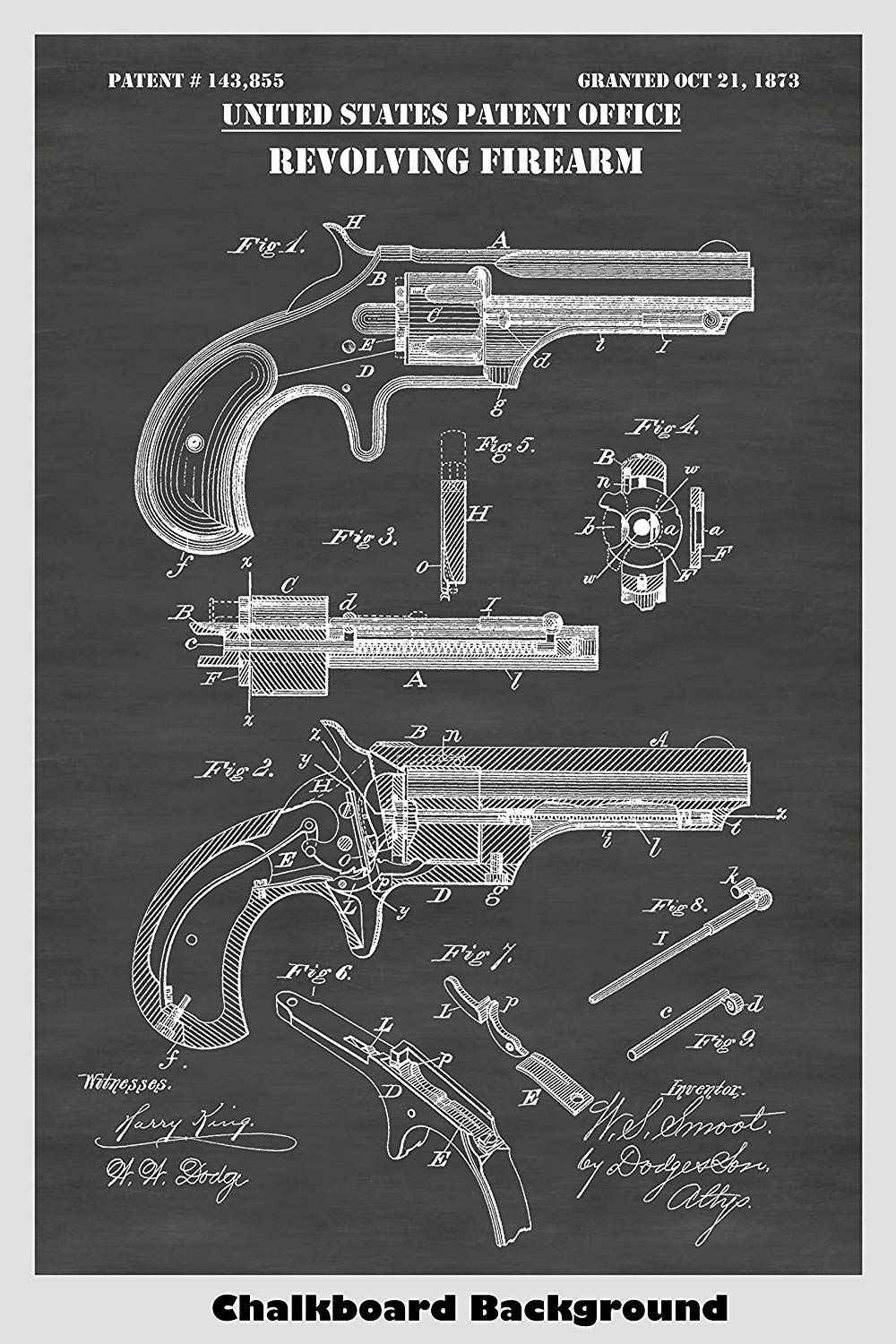 1873 Remington Smoot Revolver Patent Print