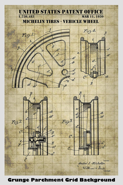 Michelin Tire Vehicle Wheel Patent Print Art Poster