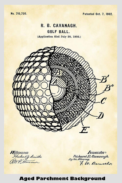 Golf Ball Patent Print Art Poster