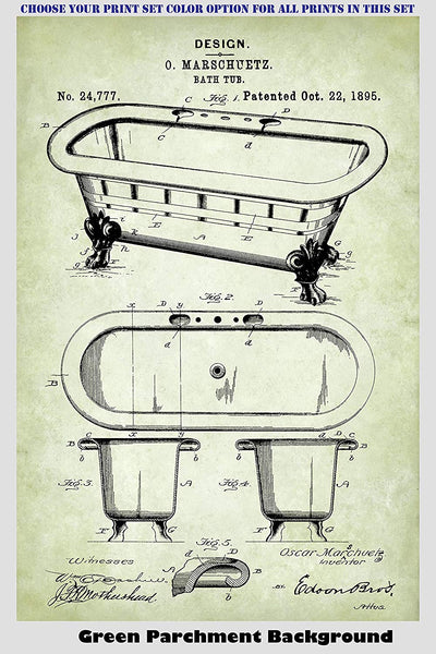 Vintage Bathroom Patent Print Art Posters Wall Decor Collection