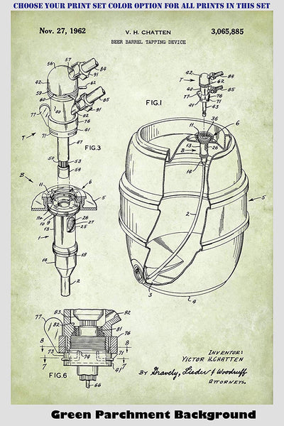 Vintage Beer Barrel & Keg Patent Print Art Posters Wall Decor Collection