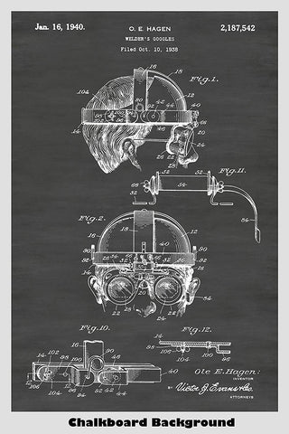 Welding Safety Goggles Patent Print Art Poster