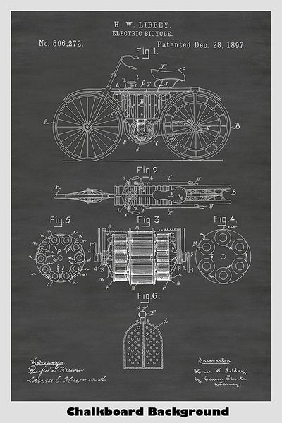 Victorian Era Electric Bicycle Patent On Our Chalkboard Background