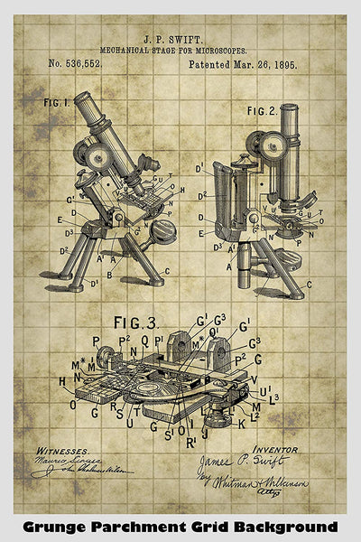 Antique Microscope Patent Print Art Poster