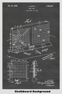 Battleship game patent on a chalkboard background poster