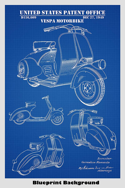 Vespa Scooter Patent Print Art Poster