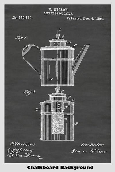 Coffee Percolator Patent Print Art