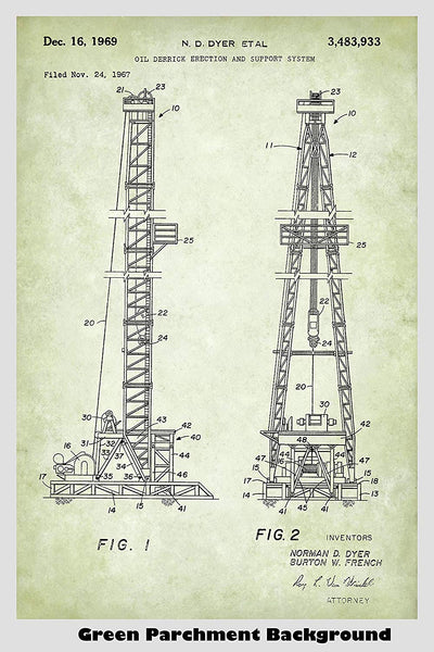 Oil Drilling Rig Patent Print Art Poster