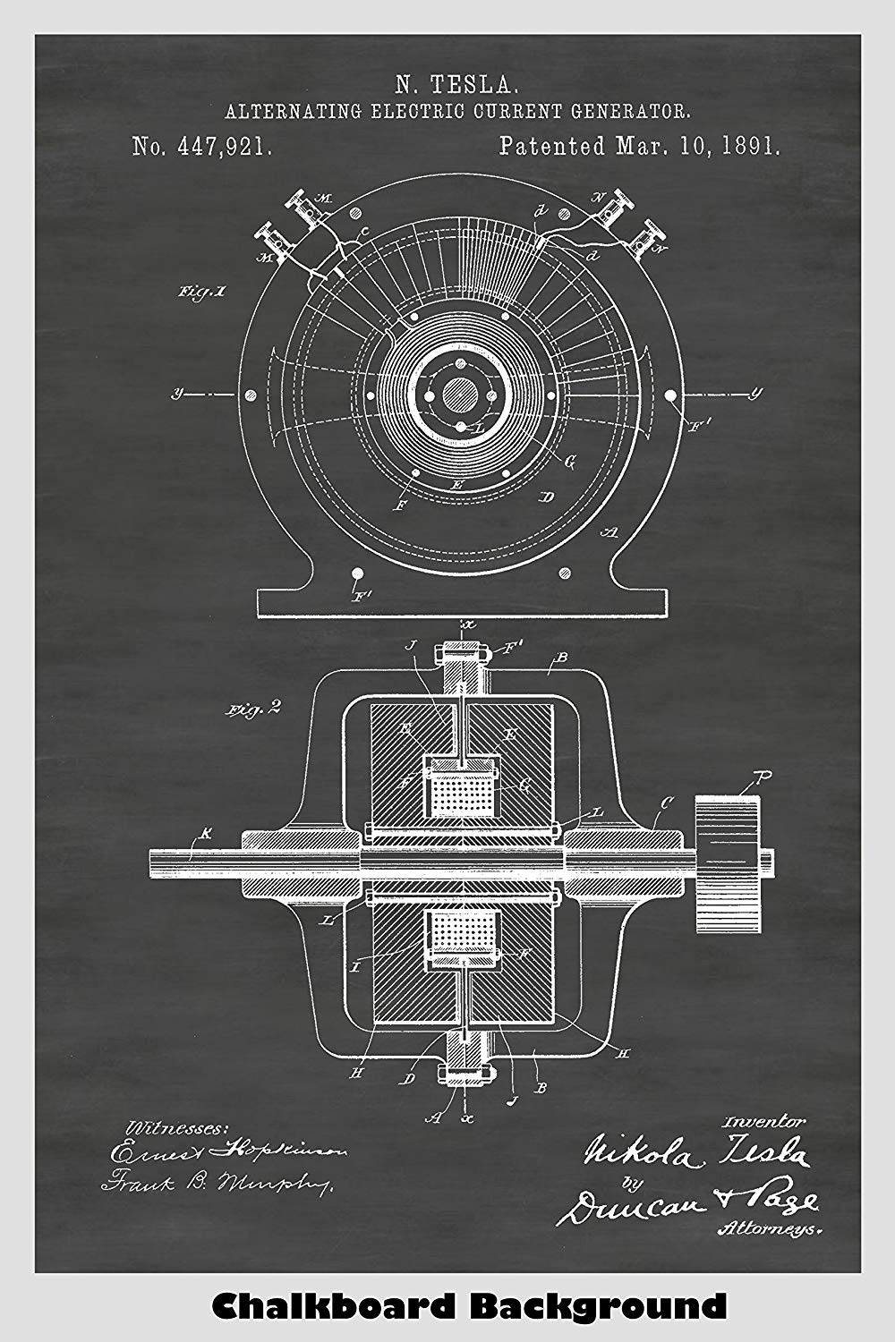Nikola Tesla Alternating Electric Current (AC) Generator Patent Print Art Poster