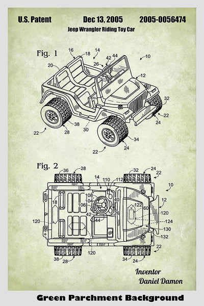Jeep Wrangler Riding Toy Car Patent Print Art Poster