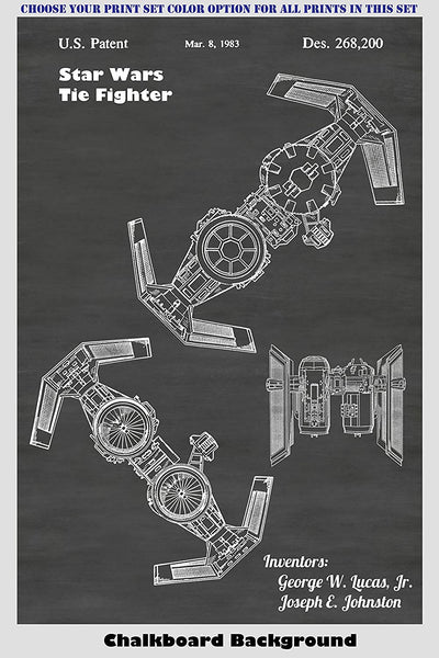 Star Wars Vehicles - Tie Fighter, At-At Walker, X-Wing Fighter And Snow Speeder Patent Print Art Posters Wall Decor Collection