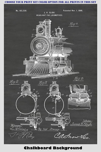 Antique Railroad Locomotive And Caboose Patent Print Art Posters Wall Decor Collection