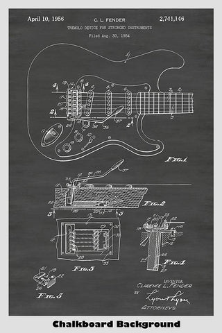 Clarence Fender Telecaster Guitar Patent Print Art