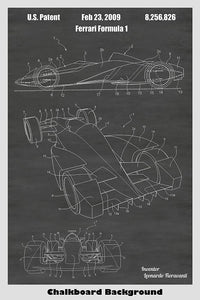 Ferrari Formula 1 Race Car Supercar Patent Print Art