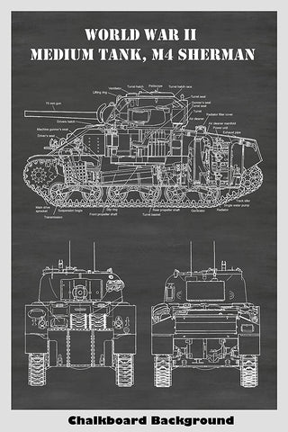 Sherman M4 Tank Diagram Print Art Poster