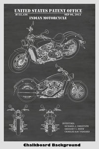 Indian Motorcycle Design Patent Print Art Poster