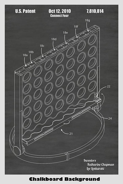 Connect Four Vertical Checkers Family Game Patent Print Art
