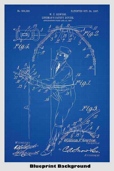 Lineman's Safety Device Patent Print Art Poster